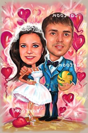 Свадебный шарж с оригинальным сюжетом в Косторме!