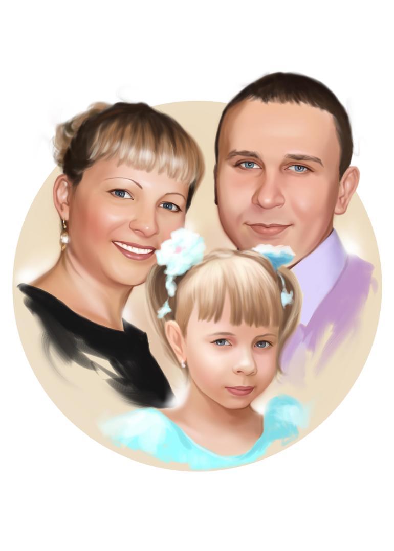 Семейный портрет по фото на холсте в Якутске — правильный подарок!