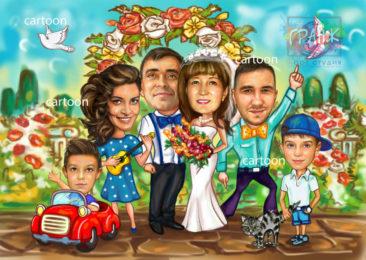 Шарж по фото на годовщину свадьбы на заказ в Якутске
